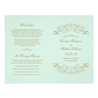 Wedding Programs | Antique Gold Flourish Personalized Flyer