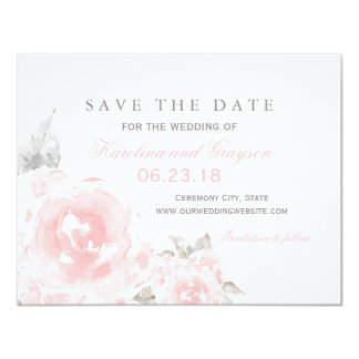 "Wedding Save the Date Card | Pink Watercolor Roses 4.25"" X 5.5"" Invitation Card"