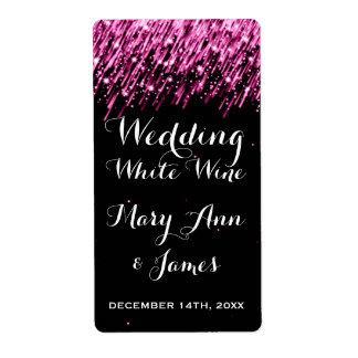 Wedding Wine Label Falling Stars Pink Shipping Label