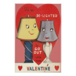 Weird Funny Lamp Light Heart Valentine Poster