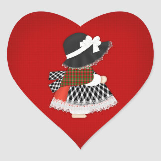 Welsh Lady Design With Traditional Costume Heart Sticker