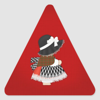 Welsh Lady Design With Traditional Costume Triangle Sticker