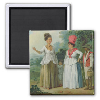 West Indian Women of Colour, with a Child and Blac Square Magnet