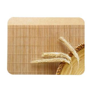 Wheat Ears On Wooden Plate Rectangular Photo Magnet