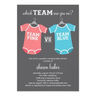 "Which Team? Gender Revealing Baby Shower 5"" X 7"" Invitation Card"