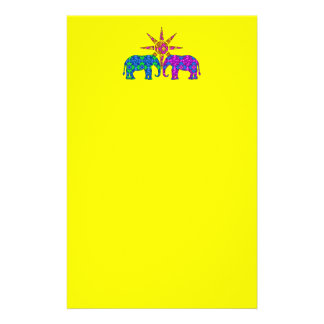 Whimsical Colorful Paisley Elephants In The Sun Customized Stationery