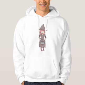 Whimsical Good Witch in Girly Pink and Grey Pullover