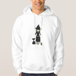 Whimsical Little Witch Girl with Cat and Mouse Hooded Pullovers