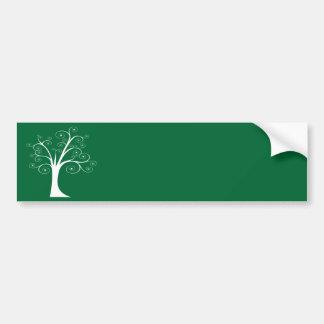 White Abstract Tree Bumper Sticker