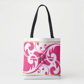 White and Hot Pink Flourish Gold Border Monogram Tote Bag