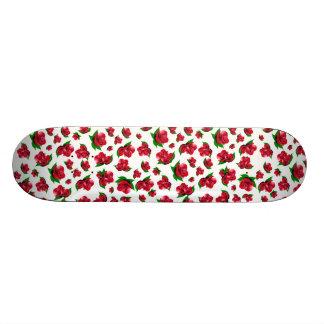 White and Red Rose Pattern Girly Girl skateboard