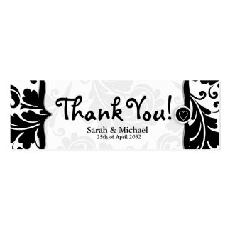 White & black damask Wedding favor Gift tag Mini Business Card