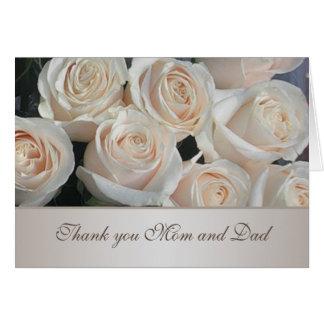 White cream roses Wedding Thank You Greeting Card