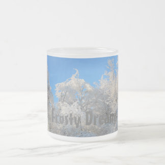White Crystal Trees 10 Oz Frosted Glass Coffee Mug