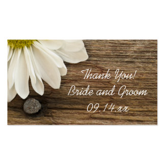 White Daisy Barn Wood Country Wedding Favor Tags Business Card