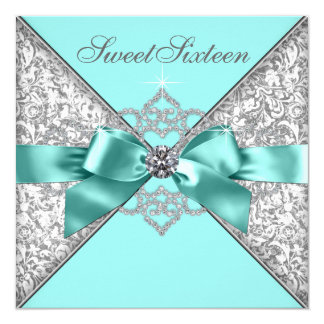 """White Diamonds Teal Blue Sweet 16 Birthday Party 5.25"""" Square Invitation Card"""