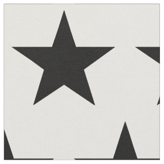 White Fabric with Black Star Design