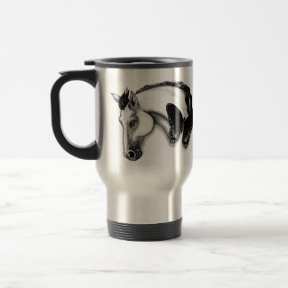 White Horse and Butterfly Design 15 Oz Stainless Steel Travel Mug