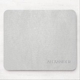 White Leather Pattern Texture- Custom Monogram/Tex Mouse Pad
