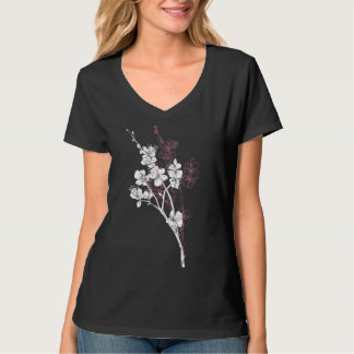 White Spring Blossoms on Acai Pink T-shirt
