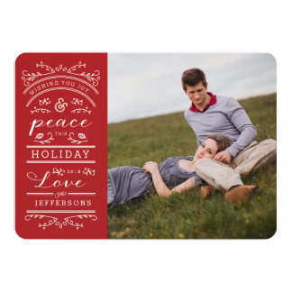 """White Typography Red Christmas Photo Card 5"""" X 7"""" Invitation Card"""
