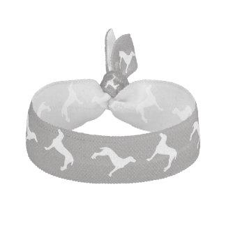 White Weimaraner Silhouettes On Grey Elastic Hair Ties