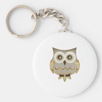 Wide Eyes Owl Basic Round Button Keychain