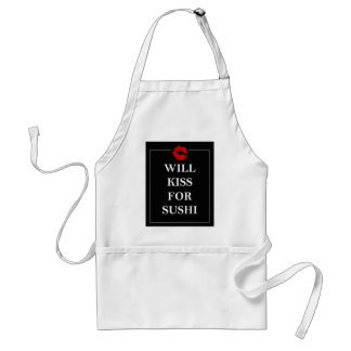 Will Kiss for Sushi Gift Ideas Unique Art Print Standard Apron