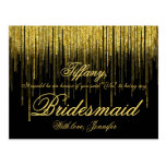 Will You Be My Bridesmaid? Golden Confetti Glitter Postcard
