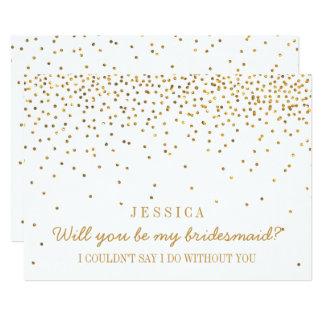 "Will You Be My Bridesmaid? Vintage Gold Confetti 5"" X 7"" Invitation Card"