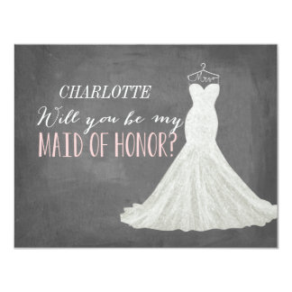 "Will You Be My Maid of Honor | Bridesmaid 4.25"" X 5.5"" Invitation Card"