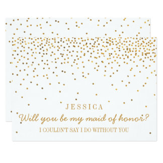 "Will You Be My Maid Of Honor Vintage Gold Confetti 5"" X 7"" Invitation Card"