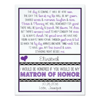 """Will you be my Matron of Honor? Purple/Black Poem 4.25"""" X 5.5"""" Invitation Card"""