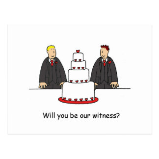 Will you be our witness, two grooms. postcard