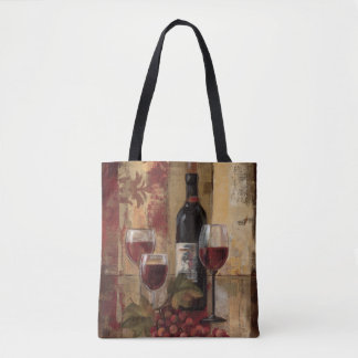 Wine Bottle and Wine Glasses Tote Bag