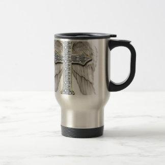 Winged Cross 15 Oz Stainless Steel Travel Mug