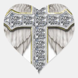 Winged Cross Heart Sticker