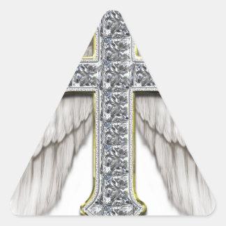 Winged Cross Triangle Sticker