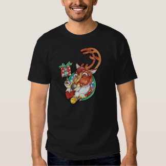 Winking Holiday Christmas Reindeer TShirt For Men