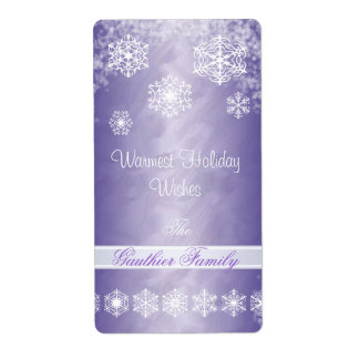Winter Snowflake Purple Foil Holiday Wine Label Shipping Label