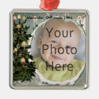 Winter Tree and Candles Photo Christmas Ornament