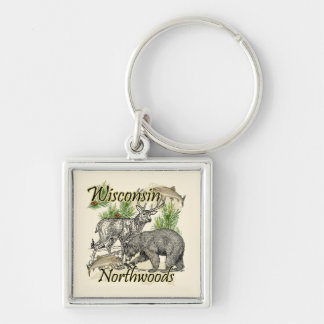 Wisconsin Northwoods Sportsman Hunting Fishing Silver-Colored Square Keychain