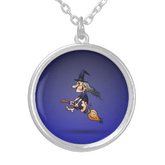 Witch on a broom round pendant necklace