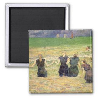 Women Bathing Dieppe by Paul Gauguin Square Magnet