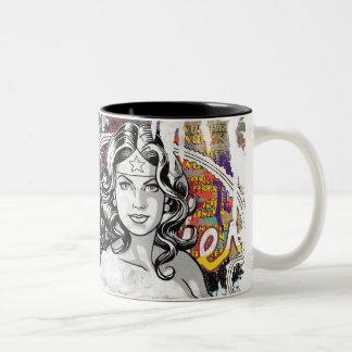 Wonder Woman Collage 6 Two-Tone Coffee Mug