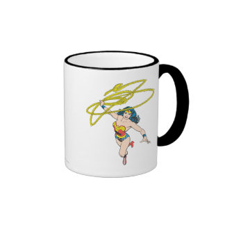 Wonder Woman Holds Lasso 2 Ringer Coffee Mug