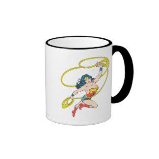 Wonder Woman Holds Lasso 3 Ringer Coffee Mug