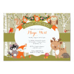 """Woodland Shower - Forest Animals Themed Baby Showe 5"""" X 7"""" Invitation Card"""