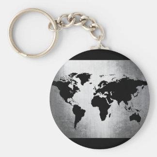 World Map Metal Basic Round Button Keychain