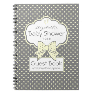 Yellow and Grey Baby Shower Guest Book- Spiral Notebooks